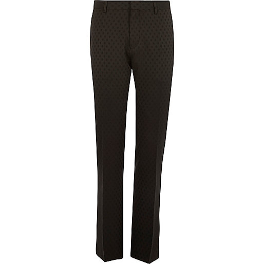 Black polka dot slim tux suit trousers