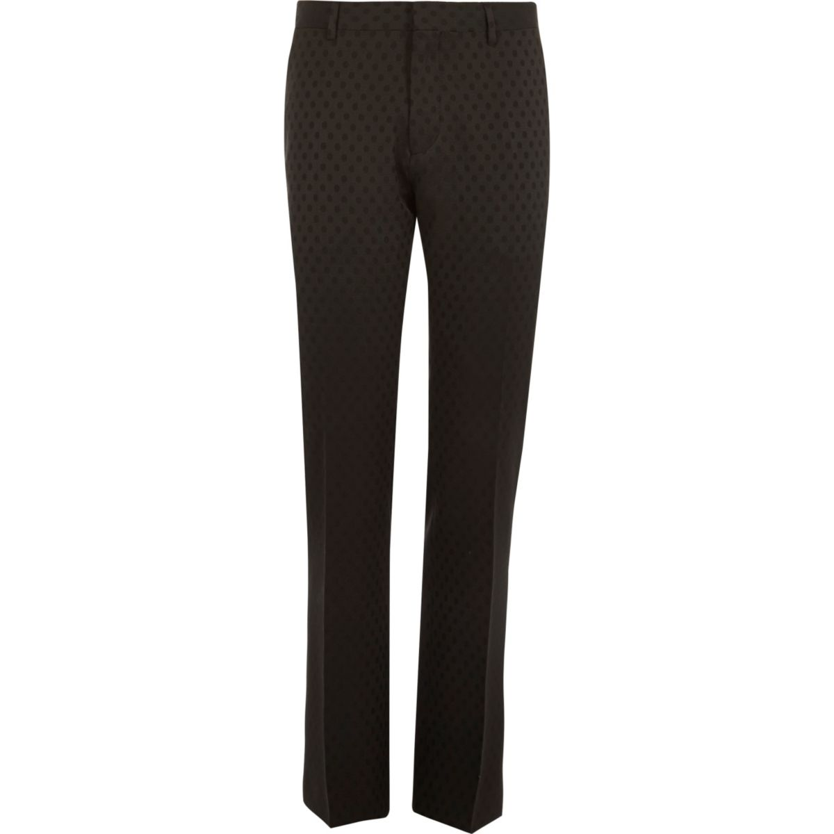 Black polka dot slim tux suit pants
