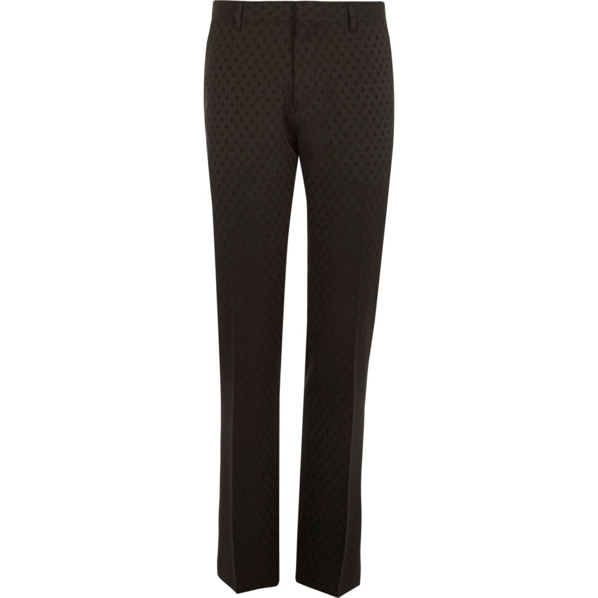 Pantalon de costume slim noir à pois