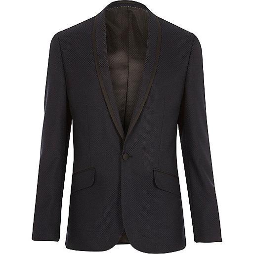 Navy slim tuxedo jacket