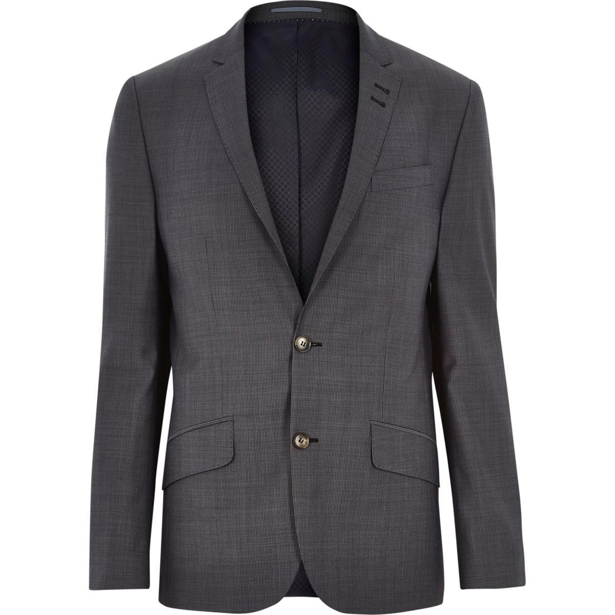 Grey herringbone wool-blend slim suit jacket