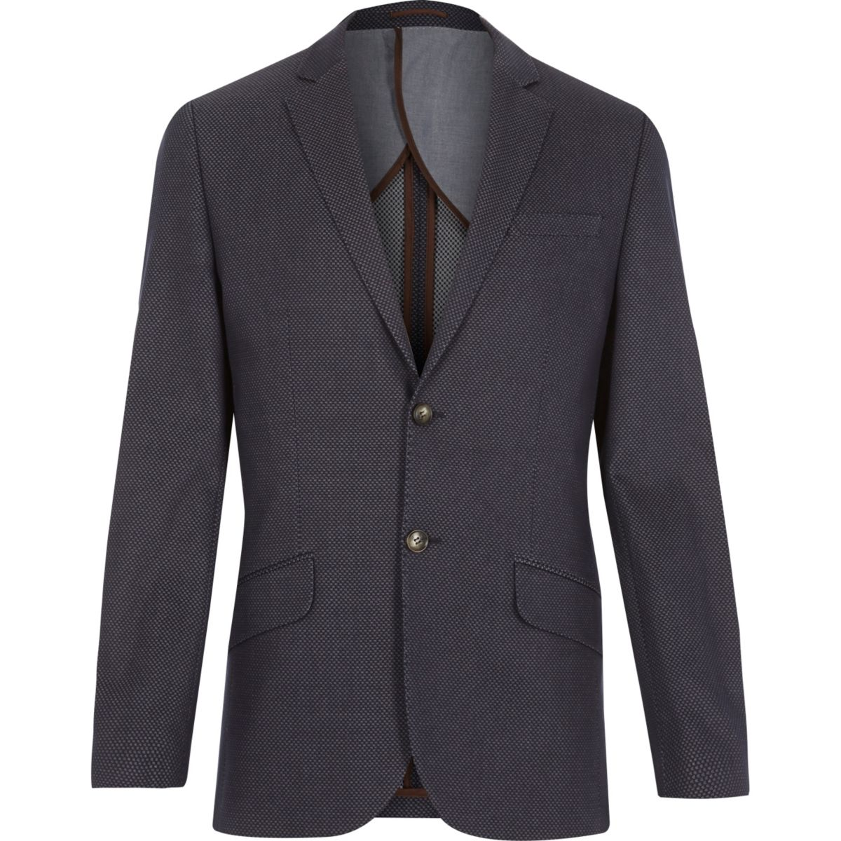 Blue jacquard weave slim suit jacket