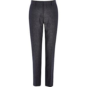 Navy denim linen-blend slim suit trousers