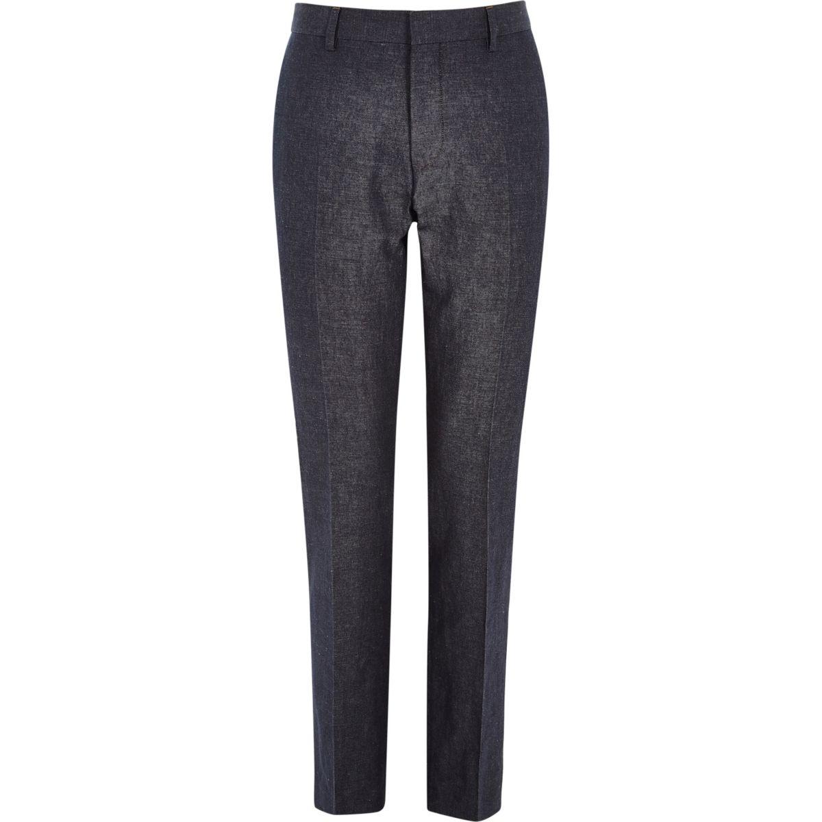 Navy denim linen-blend slim suit pants