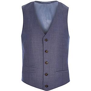 Blue wool-blend vest