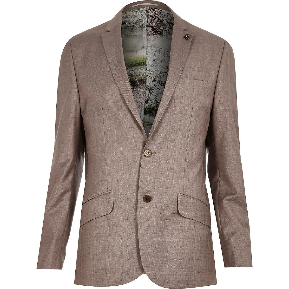 Purple print lined wool-blend slim jacket