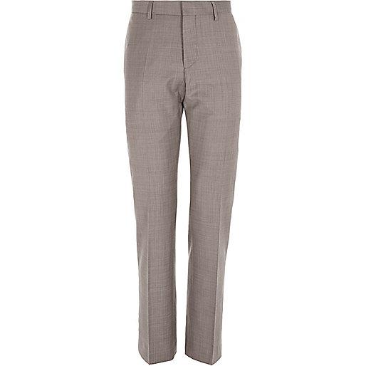 Purple wool-blend slim suit trousers