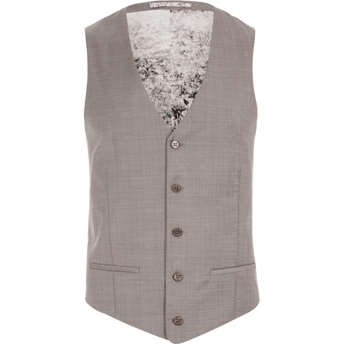 Purple wool-blend slim waistcoat
