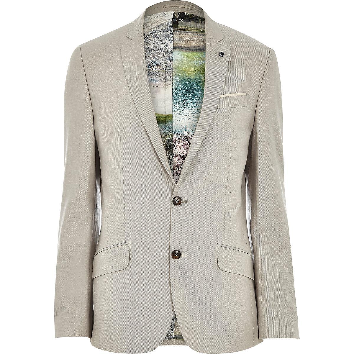 Beige linen-blend print slim suit jacket