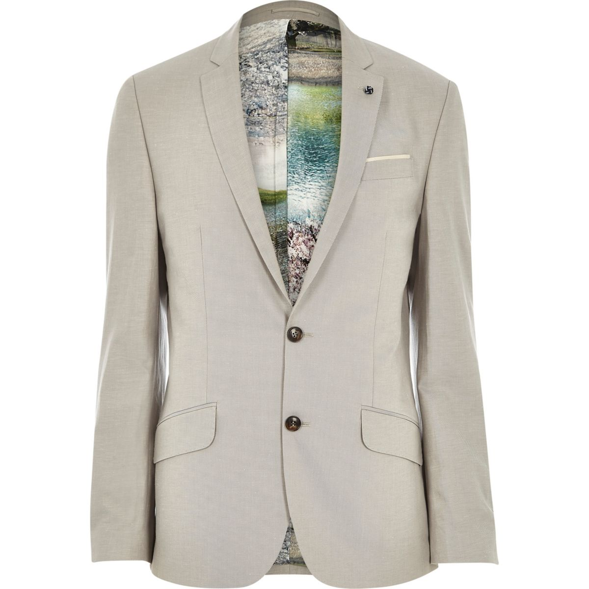 Beige linen-blend print slim suit jacket