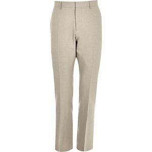 Beige linen-blend slim suit trousers