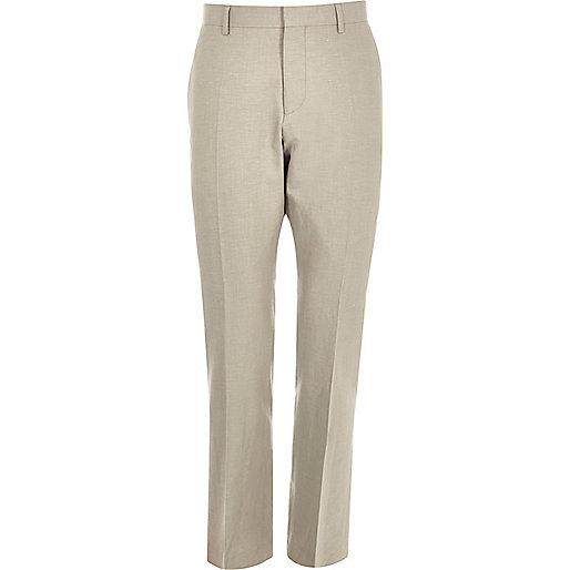 Beige linen-blend slim suit pants