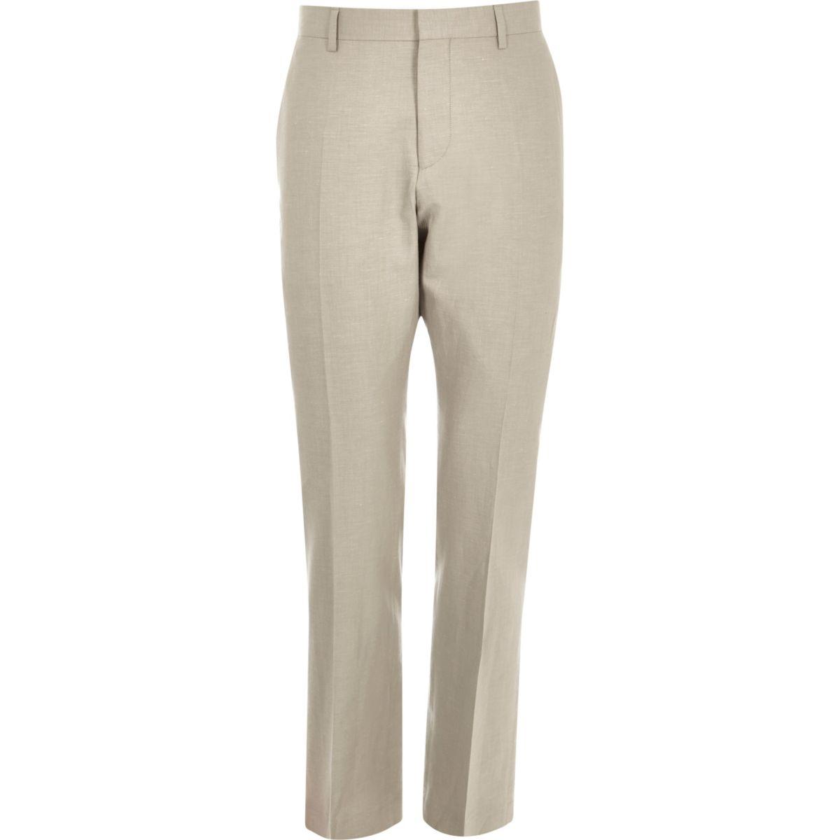 Beige linen-blend slim suit pants