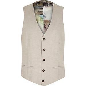 Beige linen-blend print lined waistcoat