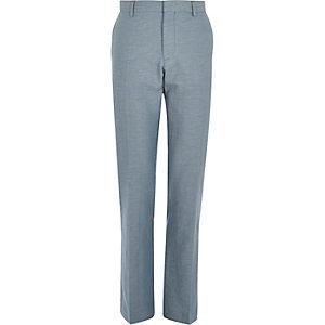Blue linen slim suit trousers