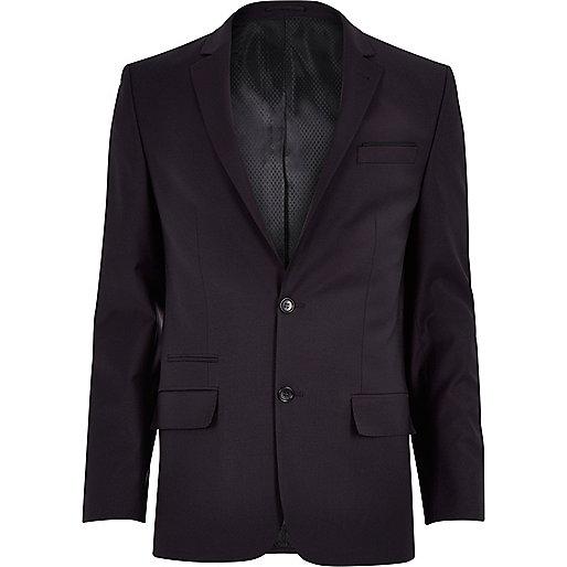 Purple wool-blend slim suit jacket