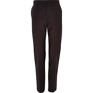 Purple wool-blend slim suit pants