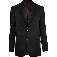 Black micro texture wool slim suit jacket