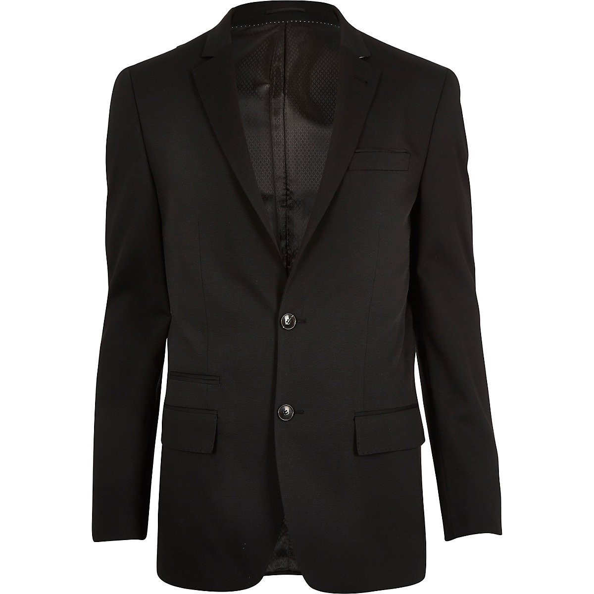 Black micro texture wool slim suit jacket