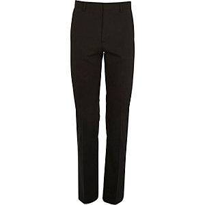 Black micro texture wool slim suit pants