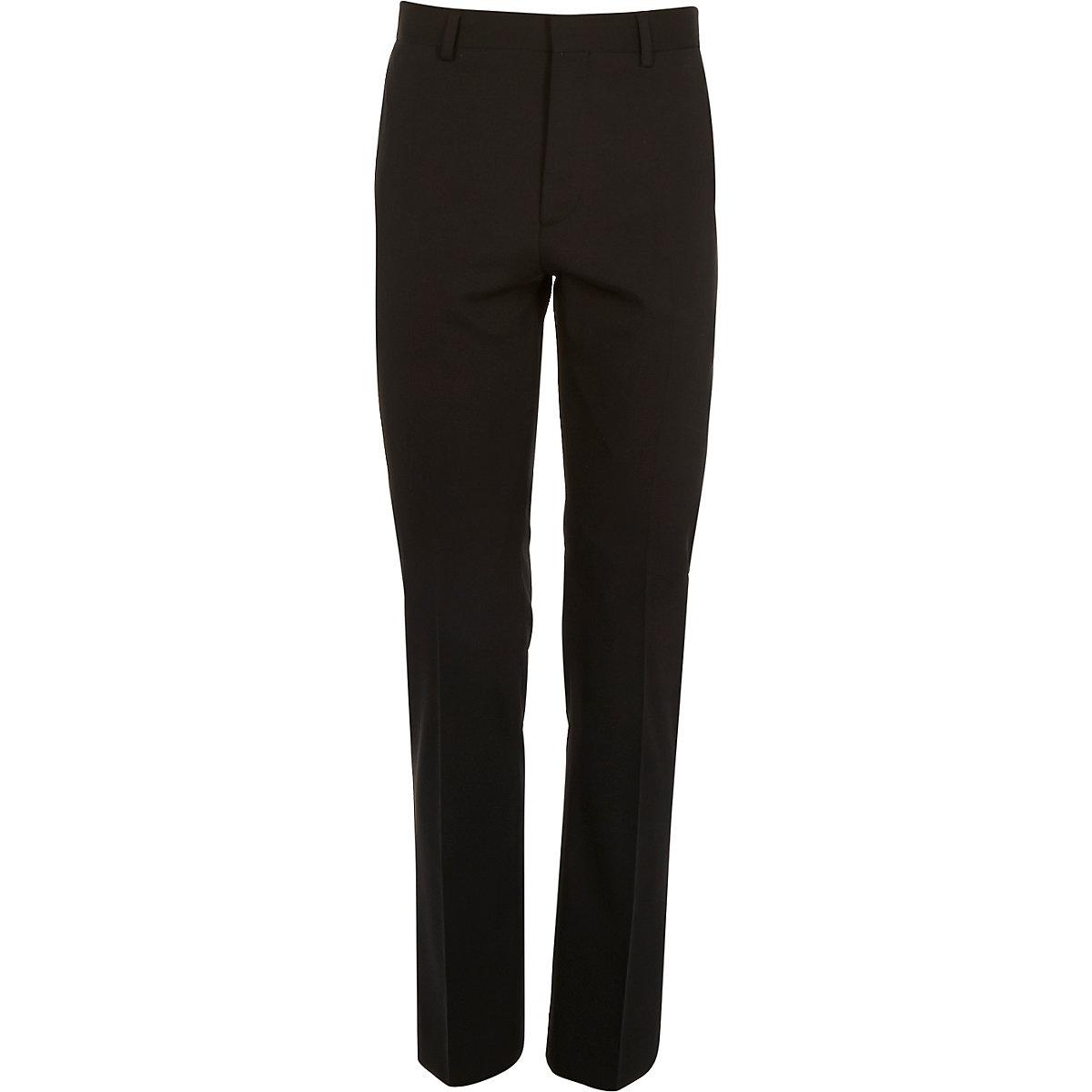 Black micro texture wool slim suit trousers