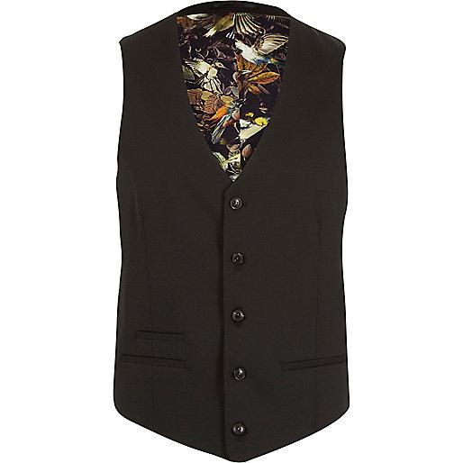 Black micro texture wool slim suit waistcoat