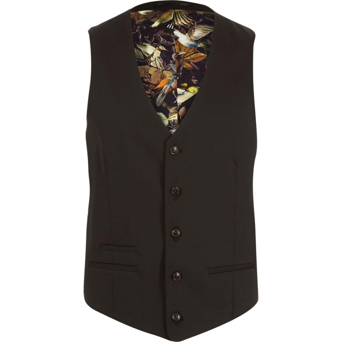 Gilet de costume cintré en laine mélangée microtexturée noire