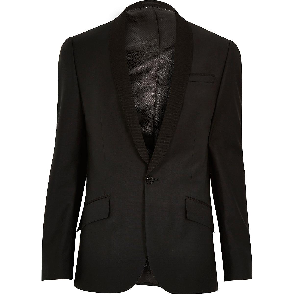 Black ribbed lapel wool slim suit jacket