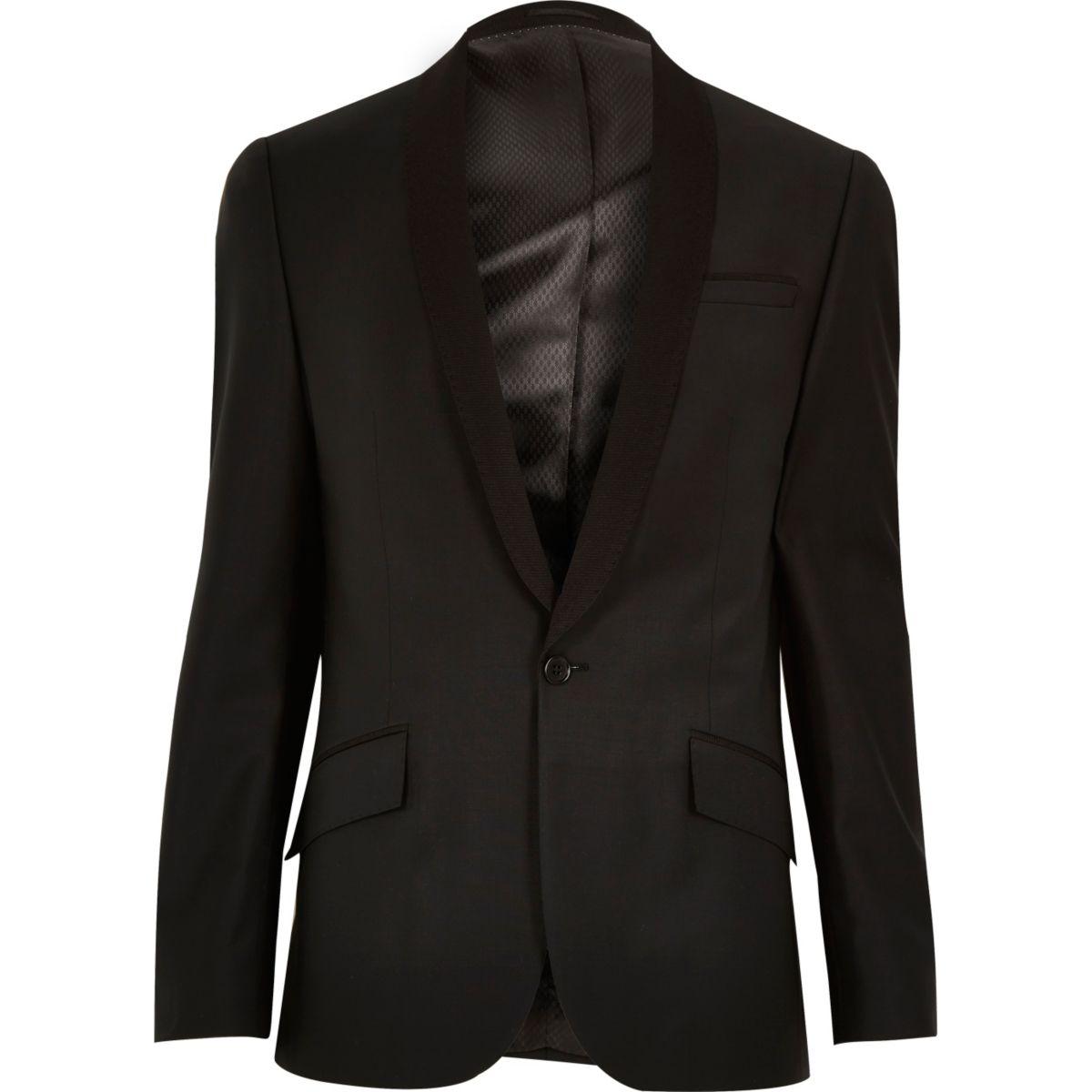 Veste de costume cintrée en laine noire à revers côtelé