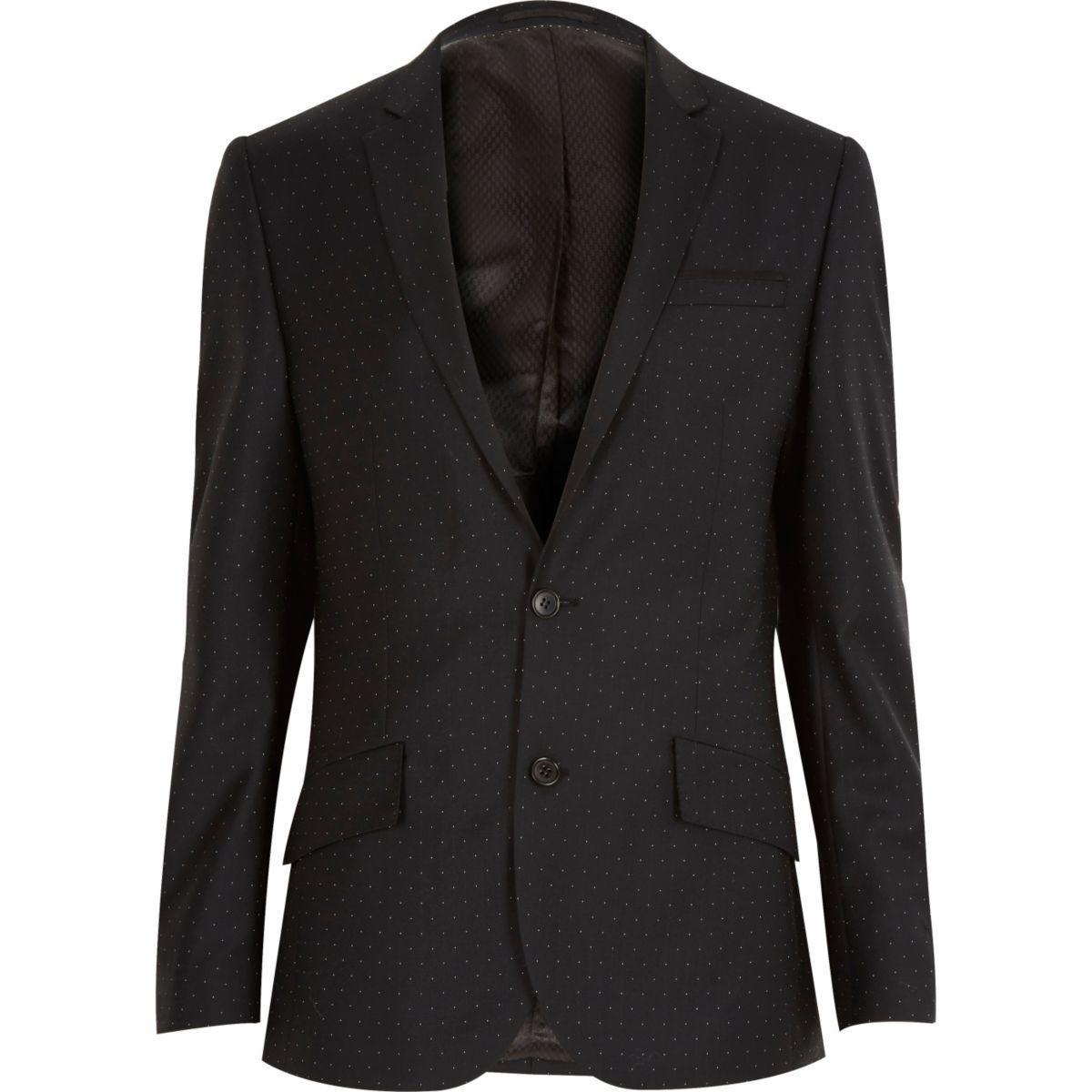 Veste de costard cintrée en laine noire à pois