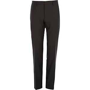 Black polka dot wool slim tux pants