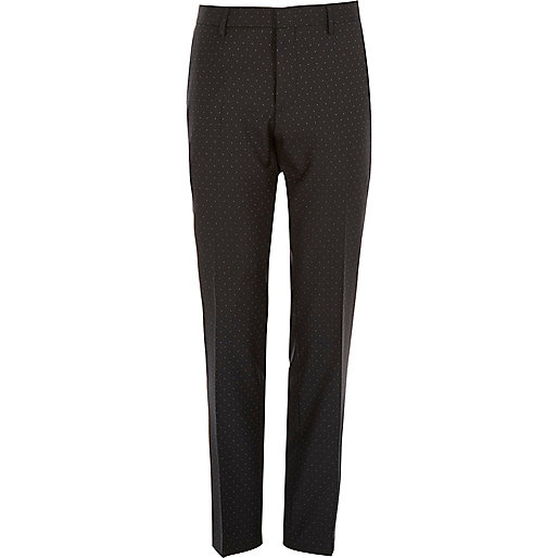 Black polka dot wool slim tux pants