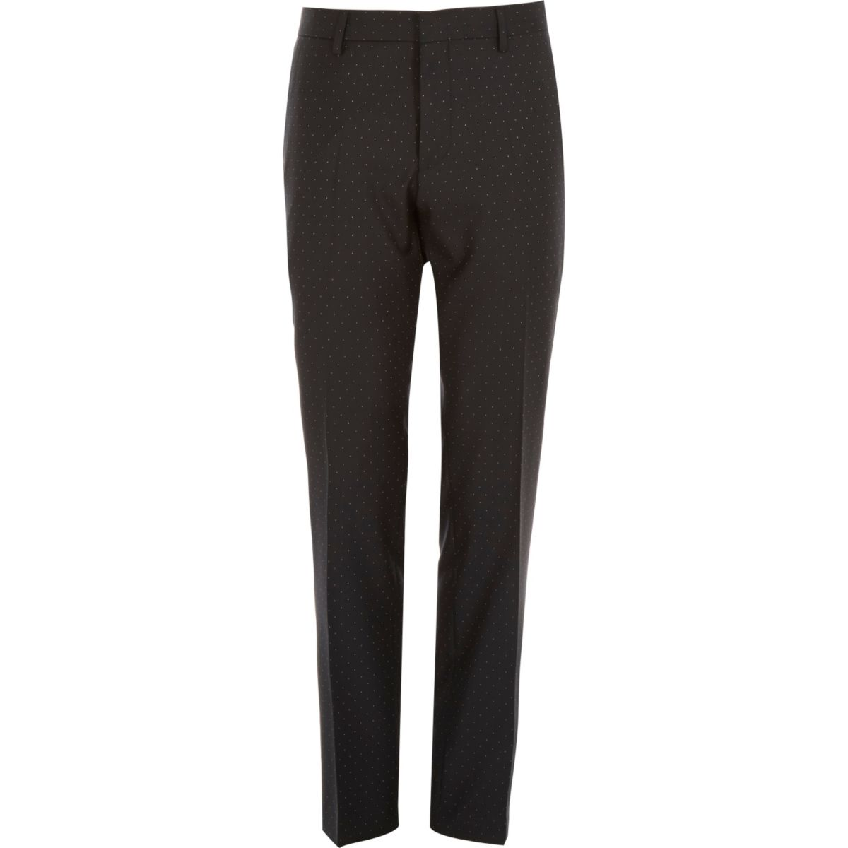 Black polka dot wool slim tux trousers