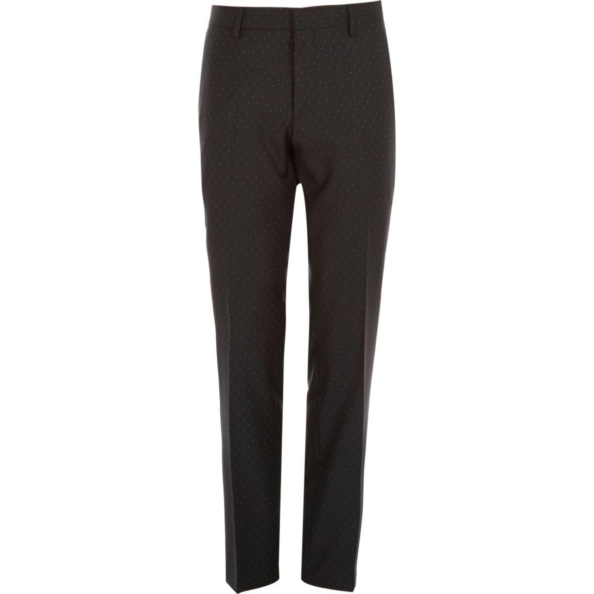 Pantalon de costard slim en laine noire à pois