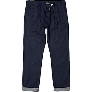 Dark blue tailored denim trousers