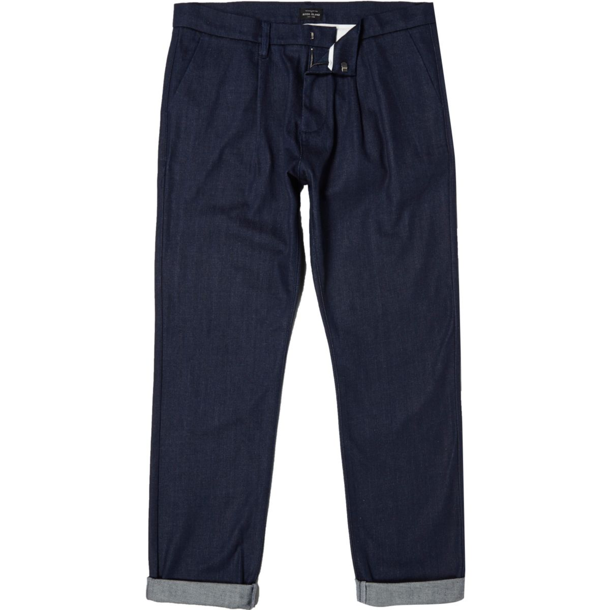Dark blue tailored denim trousers