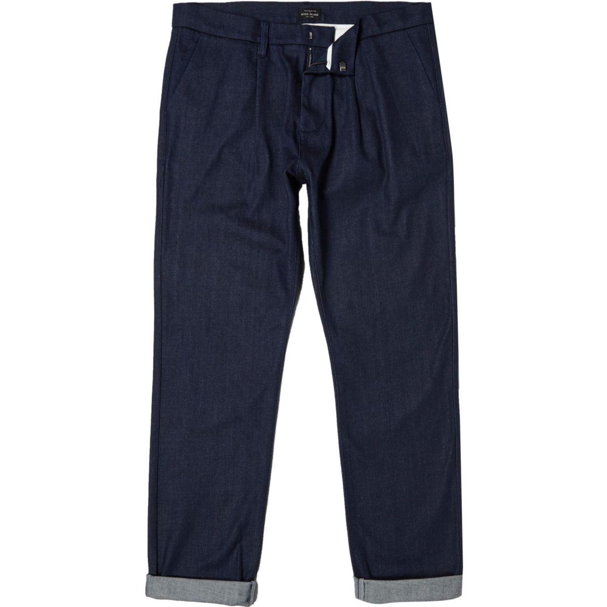 Dark blue tailored denim pants