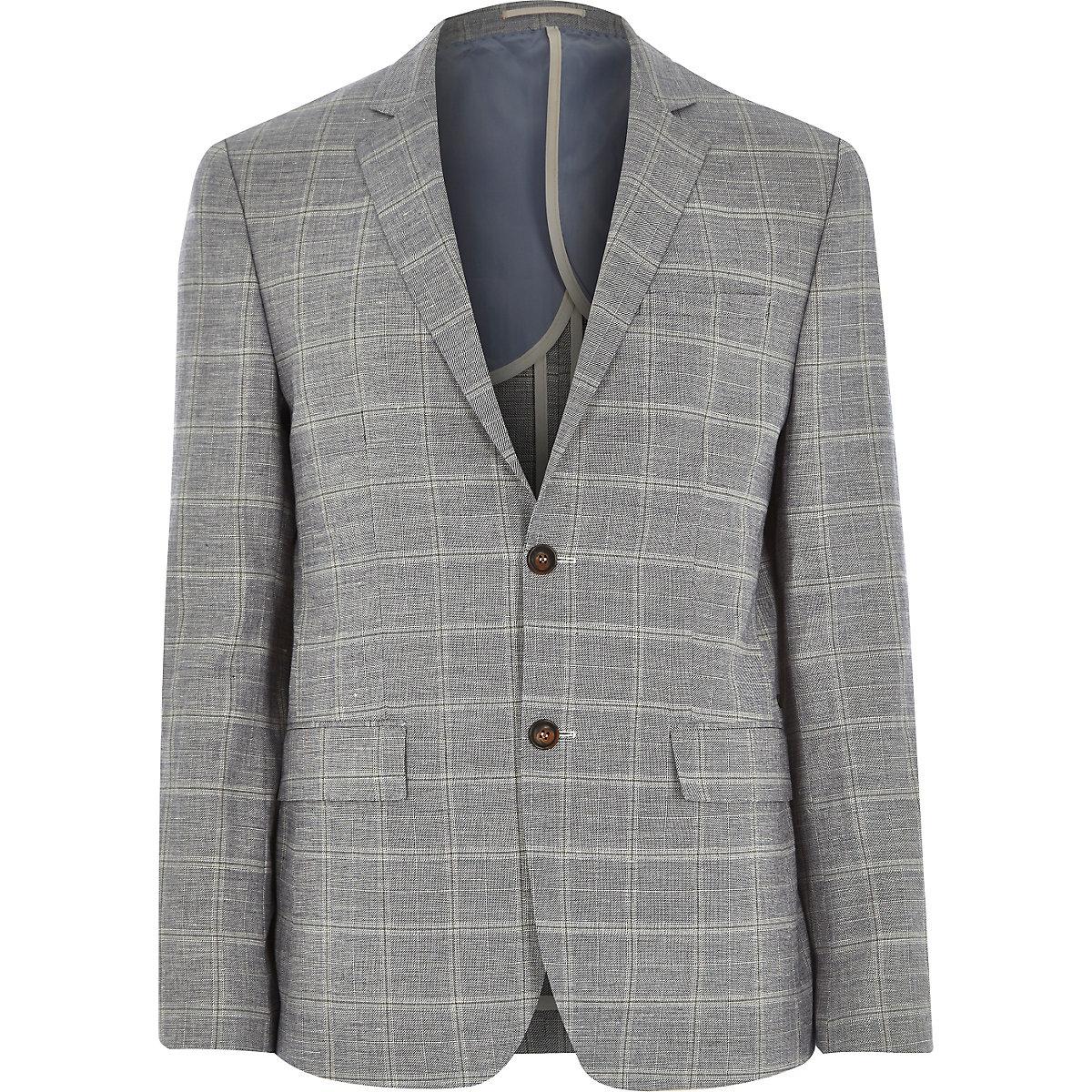 Grey check linen-blend slim suit jacket
