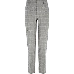 Grey check linen-blend slim suit trousers