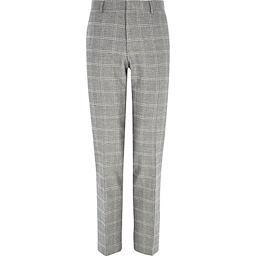 Grey check linen-blend slim suit trousers