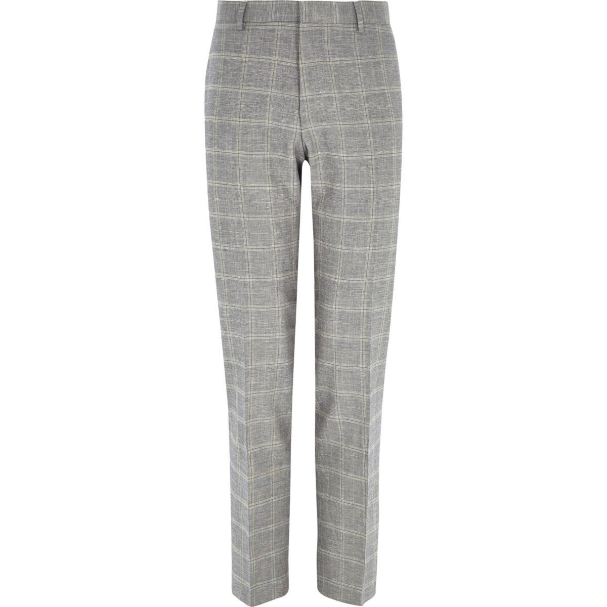 Grey check linen-blend slim suit pants