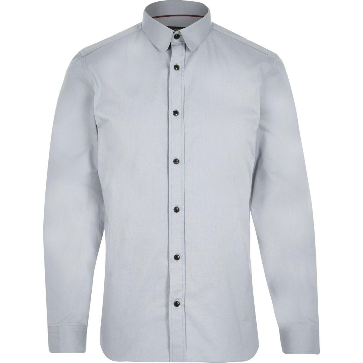 Grey penny collar long sleeve shirt
