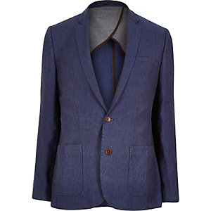 Blue linen slim suit jacket