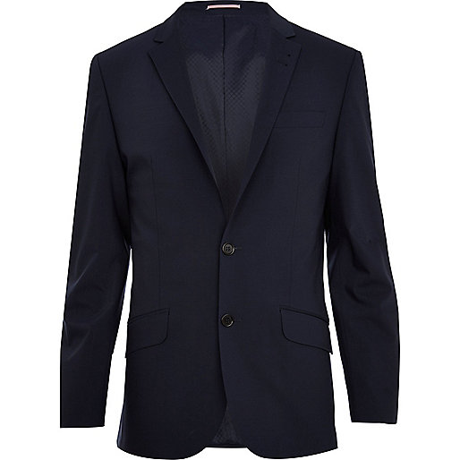 Navy wool-blend slim suit jacket