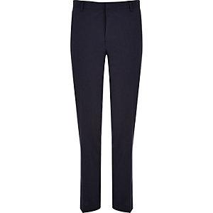 Navy premium wool-blend slim suit trousers