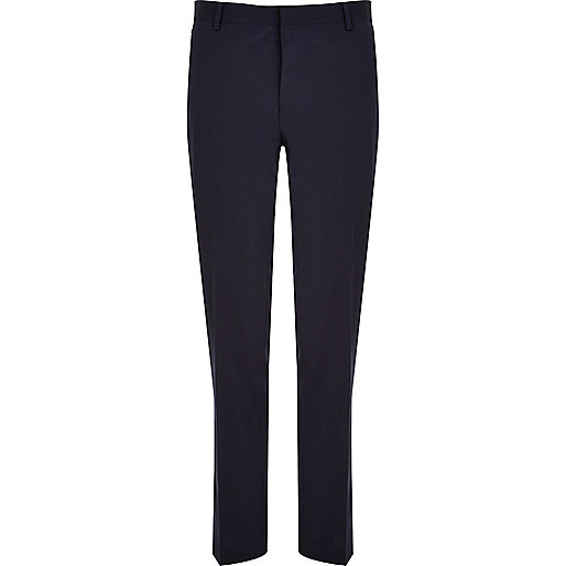 Navy premium wool-blend slim suit trousers