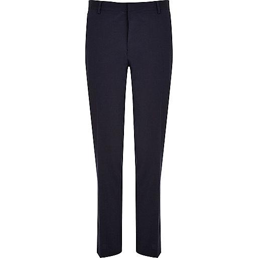 Navy premium wool-blend slim suit pants
