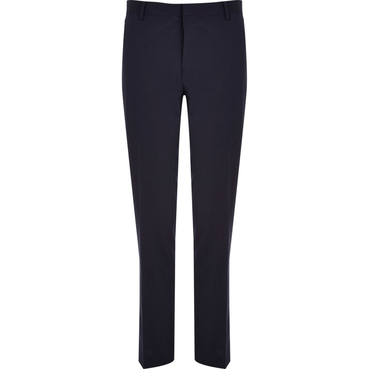 Navy premium wool-blend slim suit pants