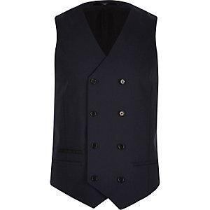 Navy double breasted waistcoat