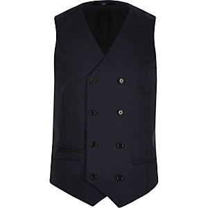 Navy double breasted vest
